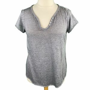 Maurices Heather Gray Scoop Neck Burnout Tee
